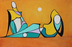 """Ladies in the Afternoon, Oil on Paper, Mounted on Canvas, 24"""" x 36"""""""
