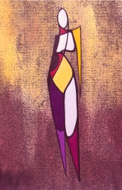 """Standing Nude 2, Ink & Gouache on Paper, 8"""" x 10"""", Sold"""