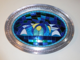 New Amsterdam Abstract, Stained Glass Mosaic Set in a Vintage Silver Plated Tray.