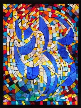 Composition 1, Stained Glass window, sold