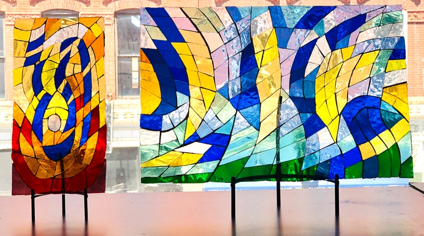 Abstract Glass Panels Paired